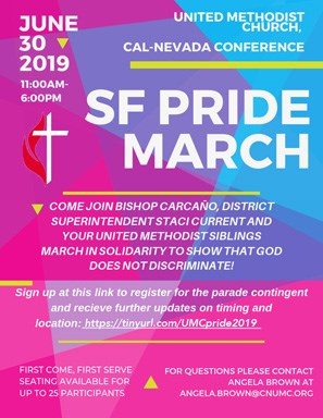 Cal-Nev UMC Announces SF Pride March